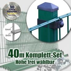 40m POWERWALL Doppelstabmatten-Set 8-6-8 fvz. + grün Rechteckpf. Universalschellen