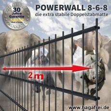 20m POWERWALL Doppelstabmatten-Set 8-6-8 fvz. + grün Rechteckpfosten U-Bügel