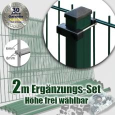 2m POWERWALL Ergänzungs-Set 8-6-8 fvz.+ grün Rechteckpfosten U-Bügel