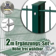 2m POWERWALL DSM-Ergänzungs-Set 8-6-8 fvz. + grün Rechteckpfosten Schiene