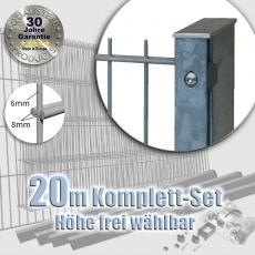 20m POWERWALL  Doppelstabmatten-Set 8-6-8 fvz. Rechteckpf. Schiene