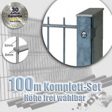 100m POWERWALL Doppelstabmatten-Set 8-6-8 fvz. Rechteckpf. Schiene
