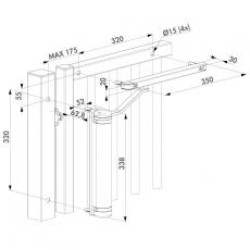 Kompakter und vielseitiger automatischer Torschließer schwarz