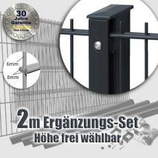 2m POWERWALL DSM-Ergänzungs-Set 8-6-8 fvz. + anthr. Rechteckpfosten Schiene