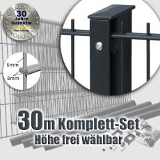 30m POWERWALL Doppelstabmatten-Set 8-6-8 fvz. + anthr. Rechteckpf. Schiene