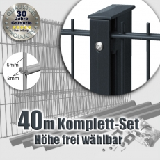 40m POWERWALL Doppelstabmatten-Set 8-6-8 fvz. + anthr. Rechteckpf. Schiene