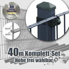 40m POWERWALL Doppelstabmatten-Set 8-6-8 fvz. + anthr. Rechteckpf. Universalschellen