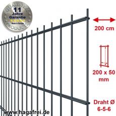 SECURA Doppelstab-Zaunmatte 6-5-6 verzinkt + pulverbeschichtet anthrazit RAL7016