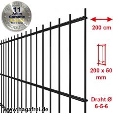 SECURA Doppelstab-Zaunmatte 6-5-6 verzinkt + pulverbeschichtet schwarz RAL9005