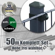 50m Doppelstabmattenzaun-Set SECURA Universal Rechteckpfosten