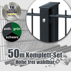 50m SECURA Doppelstabmatten-Set 6-5-6 Rechteckpfosten Schiene