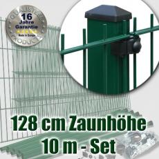 10m Doppelstabmattenzaun-Set EBE grün mit Rechteckpfosten Höhe 128cm