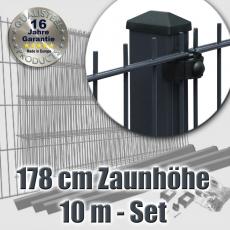10m Doppelstabmattenzaun-Set EBE anthrazit mit Rechteckpfosten Höhe 178cm