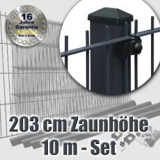10m Doppelstabmattenzaun-Set EBE mit Rechteckpfosten Höhe 203cm