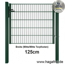 Industrie Doppelstab-Tor fvz. + grün pulverbeschichtet 1,25m Breite offener Rahmen