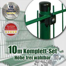 10m Doppelstabzaun-Set EBE Universal Rundpfosten Ø 42mm