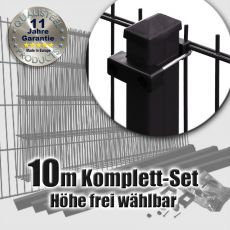 10m Doppelstabmattenzaun-Set schwarz Rechteckpfosten U-Bügel