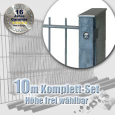 10m Industrie-Doppelstabmatten-Set 6-5-6 fvz. Rechteckpf. Schiene